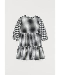 Kleid mit Puffärmeln Schwarz/Weiß kariert