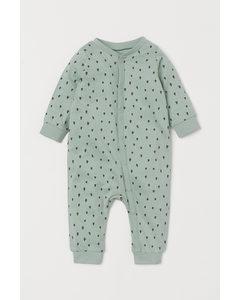 Pyjama aus Baumwolljersey Mintgrün/Gemustert