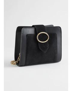 Suede Panel Leather Shoulder Bag Black