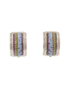 Hermes Cloisonne Clip On Earrings Silver