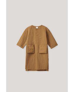 Oversized Shirt Dress Brown / White