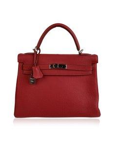 Hermes Red Leather Retourne Kelly 32 Top Handle Bag