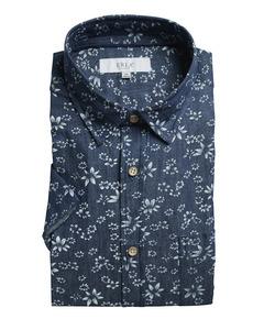 Printed Denim Short Sleeve Shirt Dark Blue