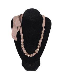 Lanvin Taupe Grosgrain Ribbon & Pearls Necklace W/ Tie Closure