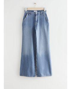 Weite Jeans mit lockerer Passform Taubenblau