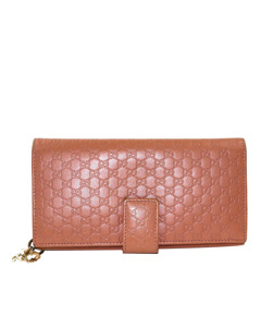 Gucci Guccissima Leather Long Wallet Orange