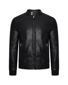 Men's Real Leather Bomber Jacket With Ribbed Cuffs