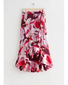 Flounced Floral Print Midi Wrap Skirt Pink Florals