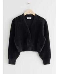Cropped Boxy Knit Cardigan Black