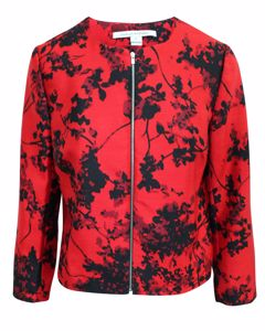 Red Print Jacket With Zipper Along Front