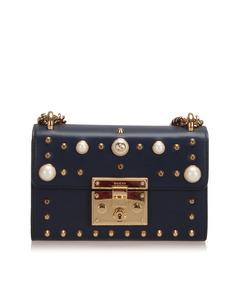 Gucci Small Studded Padlock Leather Crossbody Bag Blue