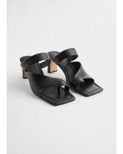 Square Toe Heeled Leather Sandals Black