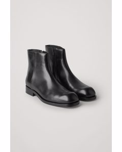 Zipped Leather Boots Black