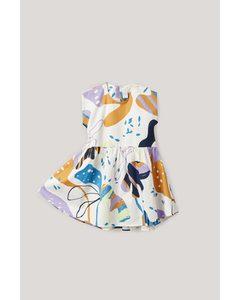 Printed Sleeveless Dress White