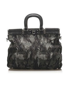 Prada Tessuto Gaufre Camouflage Business Bag Black