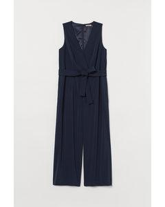 H&M+ Jumpsuit mit Bindegürtel Marineblau