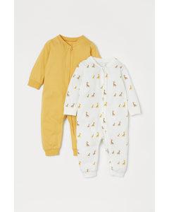 Set Van 2 Pyjamapakjes Geel/giraffen