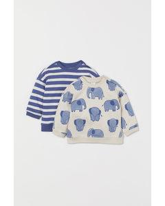 2-pack Sweatshirt I Bomull Naturvit/elefanter