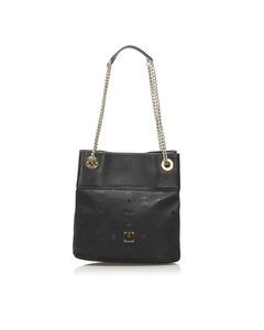Mcm Visetos Chain Shoulder Bag Black