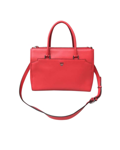 Mcm Leather Satchel Red