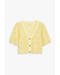 Crop Crochet Knit Cardigan Light Yellow