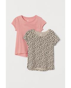 2er-Pack Baumwoll-T-Shirts Hellrosa/Leopardenmuster