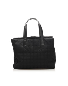 Chanel New Travel Line Canvas Tote Bag Black