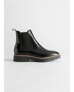 Leather Platform Sole Chelsea Boots Black