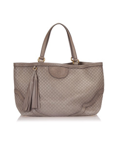 Gucci Large Microguccissima Duilio Leather Tote Bag Gray