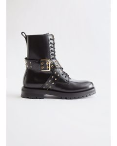 Leather Studded Strap Boots Black