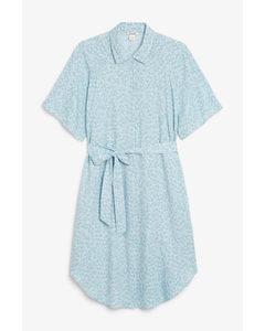 Midi Shirt Dress Blue With White Flowers