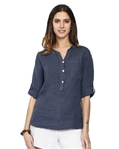 Pure Linen Tunic Shirt With Long Pockets