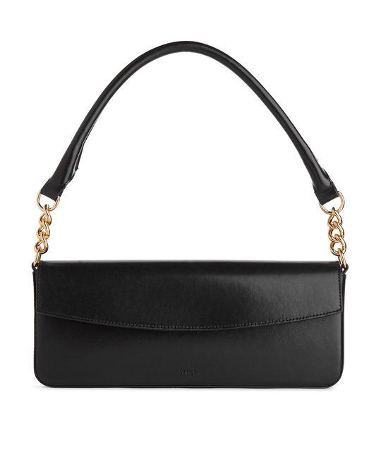 Arket Elongated Leather Shoulder Bag Black