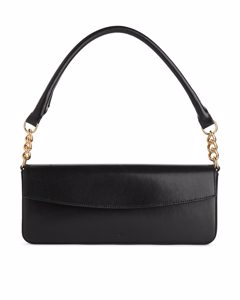 Elongated Leather Shoulder Bag Black