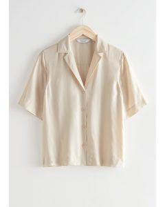 Relaxed Button Up Bowling Shirt Cream