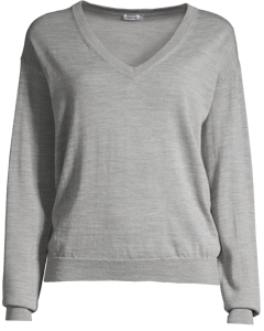 Merino V-neck Pullover Light Grey