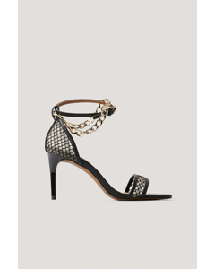 Chain Detailed Mesh Heels Black