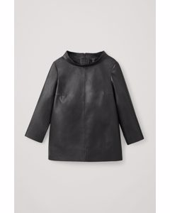 Leather Long-sleeved Top Black