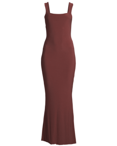 Ruched Back V Gown, Chocolate