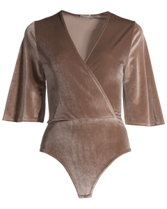 Velvet Mid Sleeve Body, Taupe