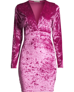 V Drop Crush Velvet Dress, Fuschia