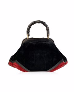 Roberta Di Camerino Vintage Black Velvet Bamboo Handle Handbag