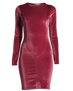 Velvet Mid Dress, Fuschia