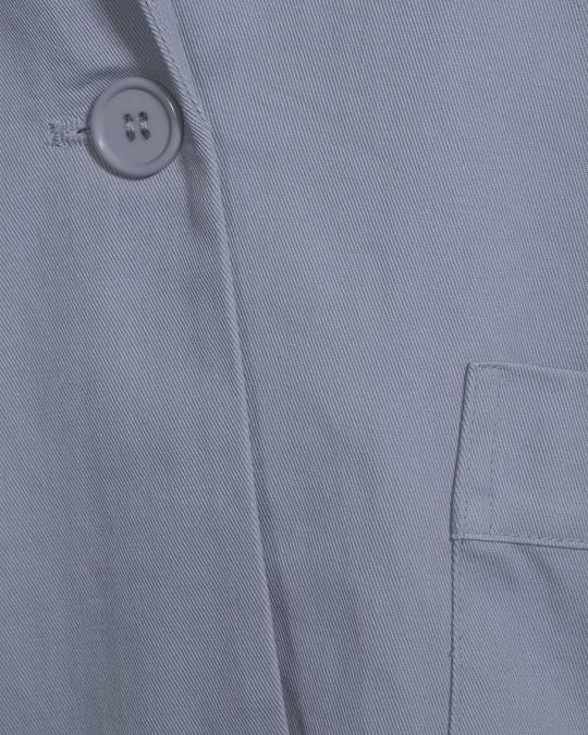NA-KD Loose Fit Cotton Blazer  Dusty Blue