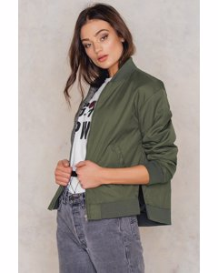 Side Slit Bomber Jacket  Army Green