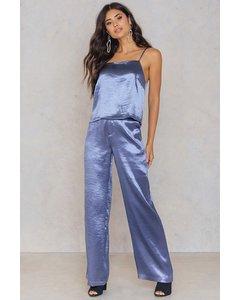 Metallic Flared Pants  Dusty Blue