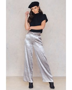 Metallic Flared Pants  Silver