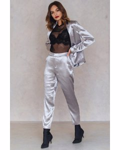 Metallic Straight Pants  Silver