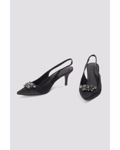 Dark Embellished Kitten Heel Pumps  Black