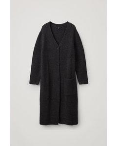 Alpaca-wool Mix Longline Cardigan Black